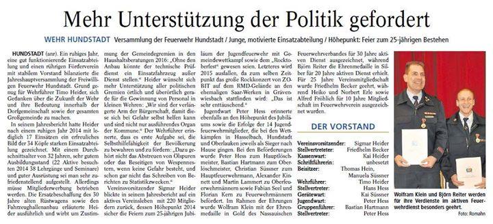 Bericht zur Jahrehauptversammlung Usinger Anzeig…