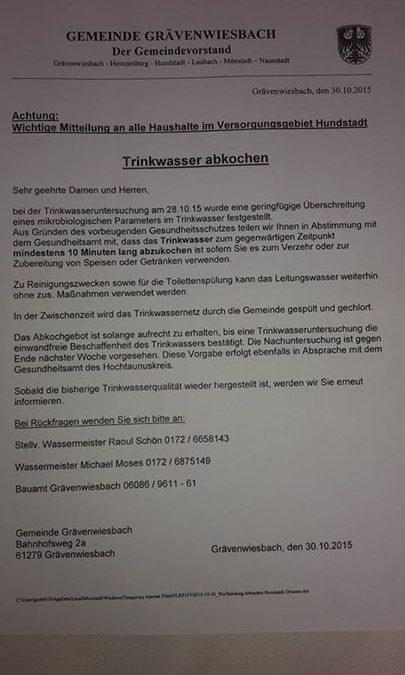 Zur Info und Beachtung in Hundstadt!Wichtige Mit…