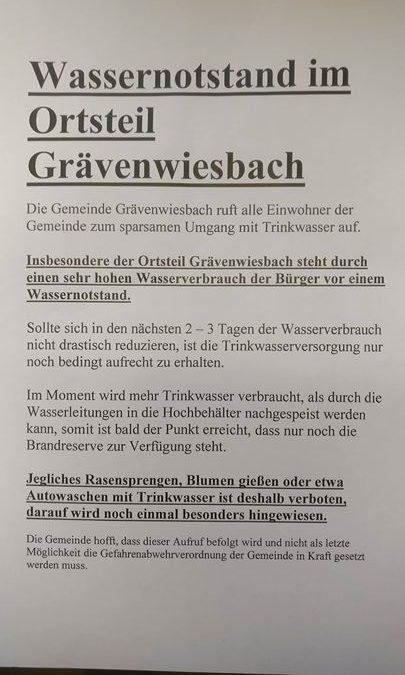WASSERNOTSTAND in Grävenwiesbach. Bitte seien Sie sehr sparsam…