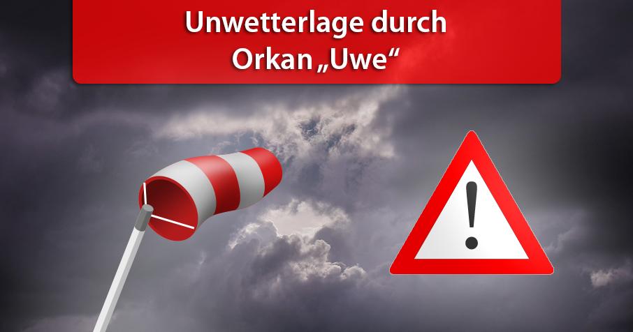 """Unwetterlage durch Orkan """"Uwe"""" am Sonntag"""