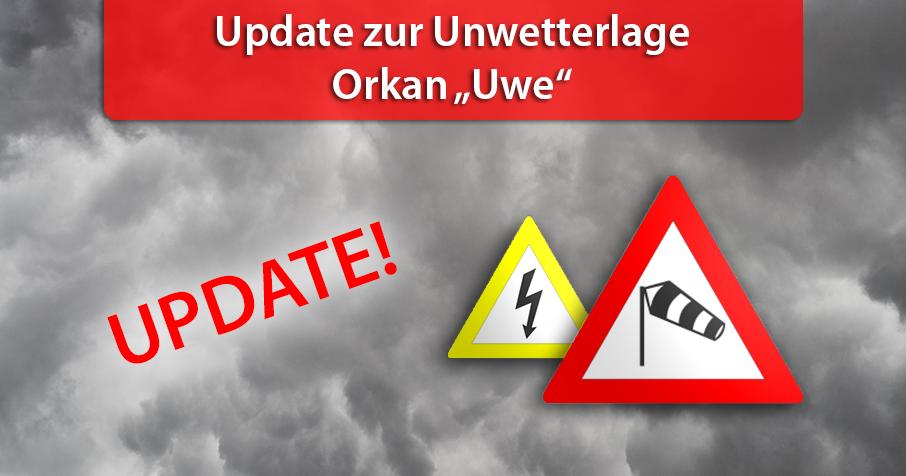"Update zu Orkan ""Uwe"" am Sonntag"