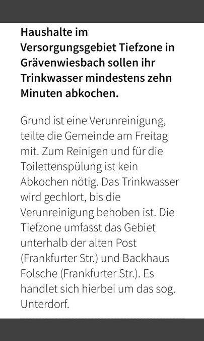 ️ Grävenwiesbach Tiefzone: Trinkwasser abkochen …